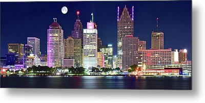 Metal Print featuring the photograph Motor City Night With Full Moon by Frozen in Time Fine Art Photography