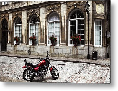 Motorcycle In Old Montreal Metal Print by John Rizzuto
