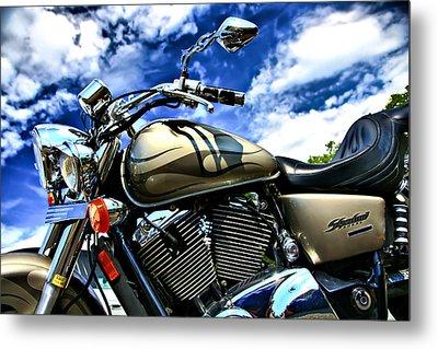 Motorcycle Shadow Sabre Metal Print