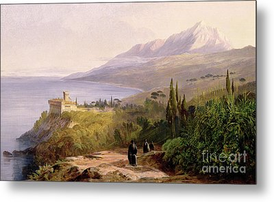 Mount Athos And The Monastery Of Stavroniketes Metal Print