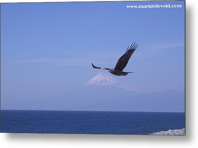 Mount Fuji With Eagle Metal Print by Mark Lelieveld