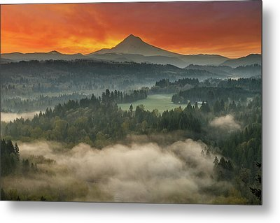 Mount Hood And Sandy River Valley Sunrise Metal Print by David Gn