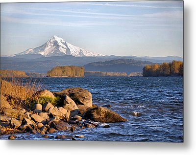 Mount Hood And The Columbia River Metal Print by Jim Walls PhotoArtist