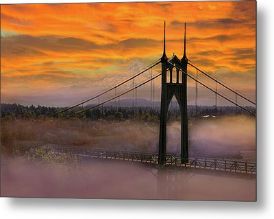 Mount Hood By St Johns Bridge During Sunrise Metal Print