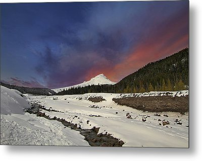 Mount Hood Winter Wonderland Metal Print