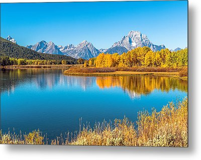 Mount Moran From The Snake River In Autumn Metal Print by James Udall