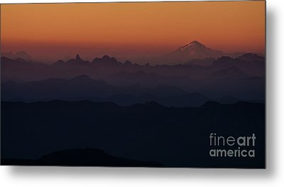 Mount Pilchuck Sunset Layers Metal Print by Mike Reid