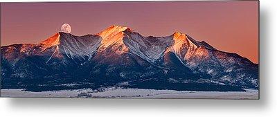 Mount Princeton Moonset At Sunrise Metal Print