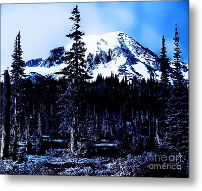 Mount Rainier Blue... Metal Print