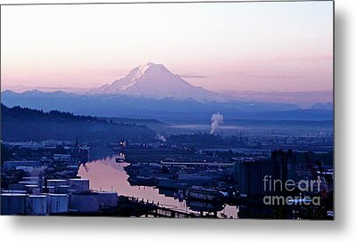 Mount Rainier Dawn Above Port Of Tacoma Metal Print by Sean Griffin