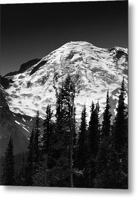 Mount Rainier Emmons And Winthrop Glaciers Washington  Metal Print by Brendan Reals