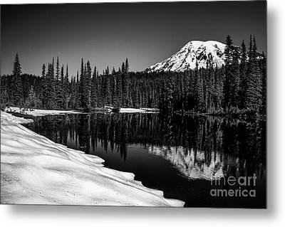 Mount Rainier Reflection Metal Print