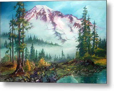 Metal Print featuring the painting Mount Rainier by Sherry Shipley