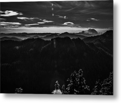 Mount Rainier With Rolling Hills Metal Print by Pelo Blanco Photo