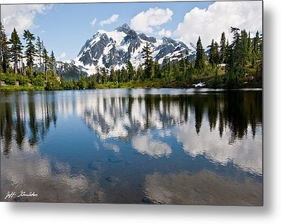 Mount Shuksan Reflected In Picture Lake Metal Print by Jeff Goulden