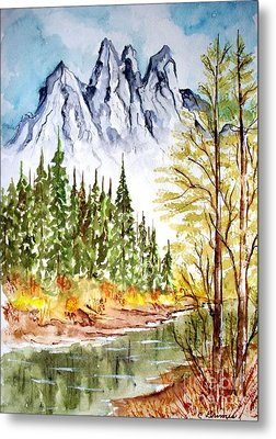 Mountain Alps Metal Print by Carol Grimes
