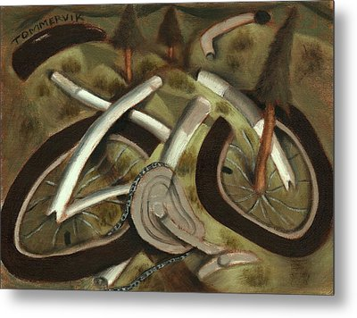 Tommervik Abstract Mountain Bike Art Print Metal Print by Tommervik