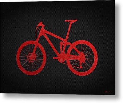 Mountain Bike - Red On Black Metal Print