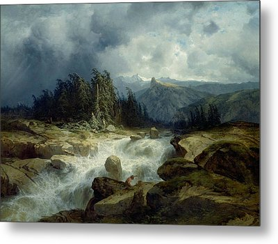 Mountain By Storm Torrent Metal Print