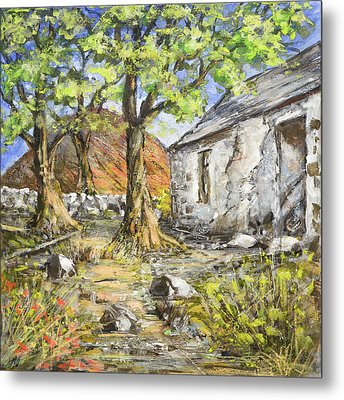 Mountain Cottage Metal Print by Marty Garland