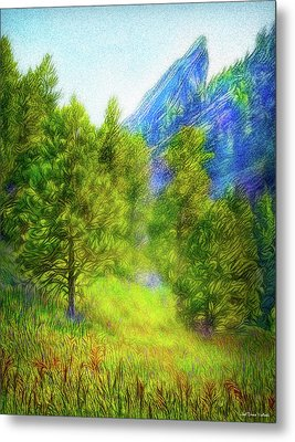 Mountain Field Springtime Metal Print