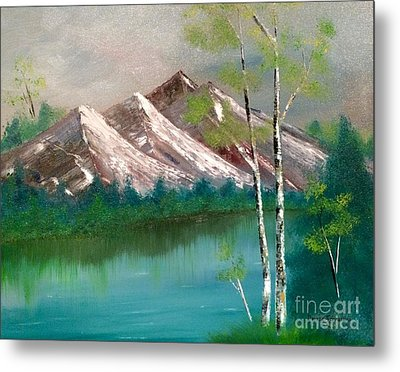 Metal Print featuring the painting Mountain Lake by Denise Tomasura