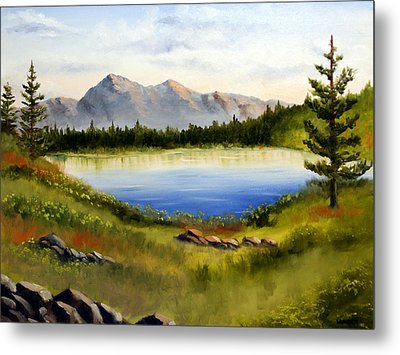 Mountain Lake Landscape Oil Painting Metal Print by Mark Webster