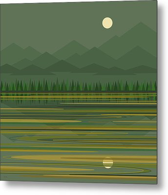 Metal Print featuring the digital art Mountain Lake Moonrise by Val Arie