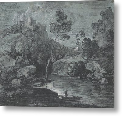 Mountain Landscape With A Castle And A Boatman Metal Print by Thomas Gainsborough