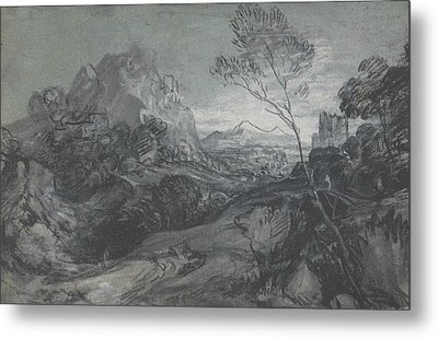 Mountain Landscape With Figures And Buildings Metal Print by Thomas Gainsborough