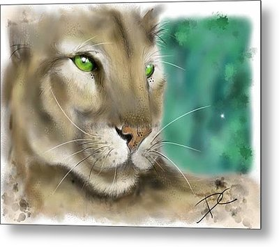 Metal Print featuring the digital art Mountain Lion by Darren Cannell