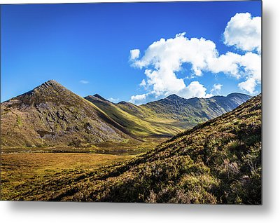 Mountain Range And Valleys In Kerry In Ireland On A Sunny Day Wi Metal Print by Semmick Photo