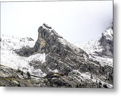 Mountain Range Snow Covered Metal Print by Bernard Jaubert