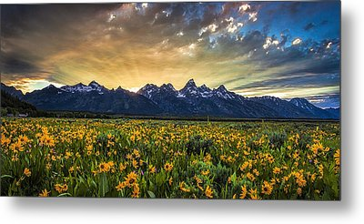 Mountain Rays Panorama Metal Print