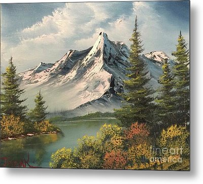 Mountain Reflections  Metal Print by Paintings by Justin Wozniak