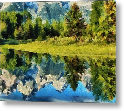 Mountain Reflections Metal Print by Russ Harris
