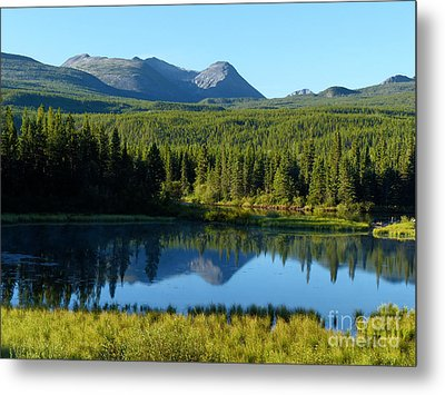 Mountain Reflections Yukon Wilderness Metal Print by Teresa A and Preston S Cole Photography