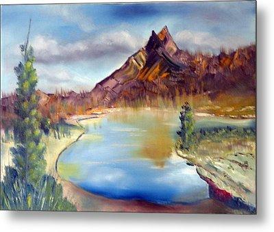 Mountain Scene With Lake Metal Print by Miriam Besa