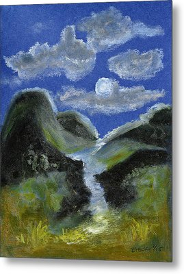 Mountain Spring In The Moonlight Metal Print