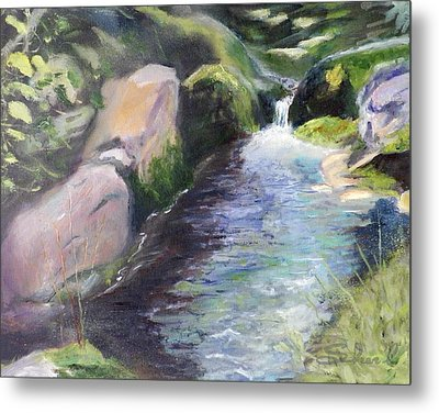 Metal Print featuring the painting mountain Stream by Sherril Porter