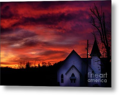 Metal Print featuring the photograph Mountain Sunrise And Church by Thomas R Fletcher