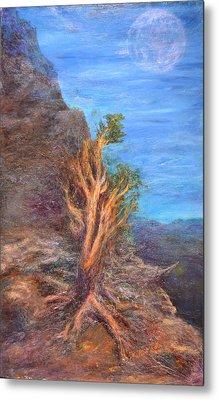 Mountain Tree With Moon Metal Print by Walter Idema