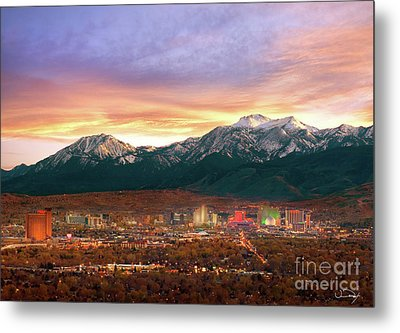 Mountain Twilight Of Reno Nevada Metal Print by Vance Fox