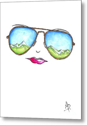 Mountain View Aviator Sunglasses Pop Art Painting Pink Lips Aroon Melane 2015 Collection Metal Print