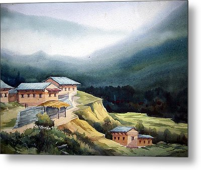 Mountain Village From Top View Metal Print