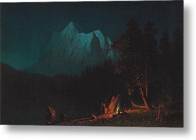 Mountainous Landscape By Moonlight Metal Print by Albert Bierstadt