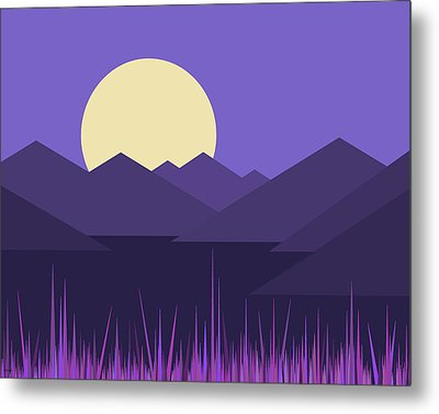 Metal Print featuring the digital art Mountains And A Lavender Sky by Val Arie