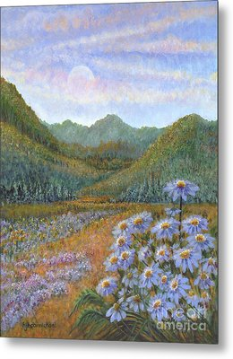 Mountains And Asters Metal Print by Holly Carmichael