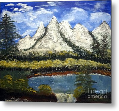 Mountains And Evergreens Metal Print