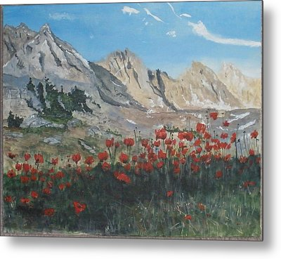 Metal Print featuring the painting Mountains And Poppies by Betty-Anne McDonald
